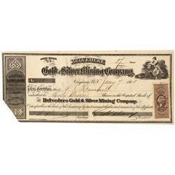 NV - Virginia City,Storey County - Jan. 7, 1965 - Belvedere Gold & Silver Mining Company Stock Certi