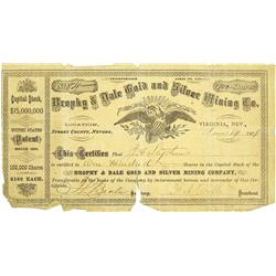 NV - Virginia City,Storey County - June 14, 1879 - Brophy & Dale Gold and Silver Mining Co. Stock Ce