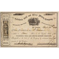 NV - Virginia City,Storey County - April 20, 1864 - Caledonia Gold and Silver Mining Company Stock C
