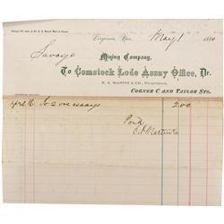 NV - Virginia City,Storey County - May 1, 1880 - Comstock Lode Assay Office Billhead