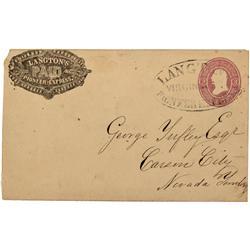 NV - Virginia City,Storey County - 1860s - Cover with Langton, Virginia City Cancellation *Territori