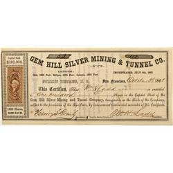 NV - Virginia City,Storey County - 1863 - Gem Hill Silver Mining & Tunnel Company Stock Certificate