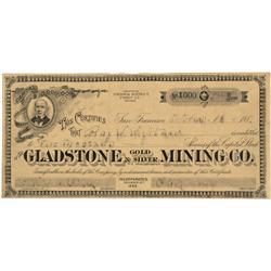 NV - Virginia City,Storey County - October 16, 1887 - Gladstone Gold & Silver Mining Company, Stock