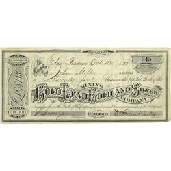 NV - Virginia City,Storey County - Oct. 13, 1883 - Golo Lead Gold and Silver Mining Company Stock Ce