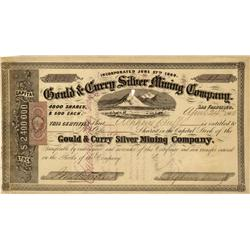NV - Virginia City,Storey County - April 24, 1865 - Gould & Curry Silver Mining Company Stock Certif