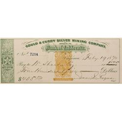 NV - Virginia City,Storey County - 1870 - Gould and Curry Check Endorsed By William Sharon - Clint M