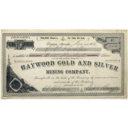 NV - Virginia City,Storey County - 1886 - Haywood Gold and Silver Mining Company Stock Certificate