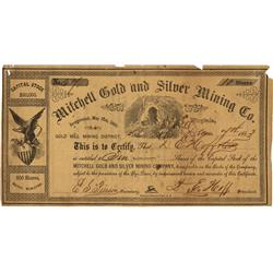 NV - Virginia City,Storey County - December 7, 1863 - Mitchell Gold and Silver Mining Co. Stock Cert