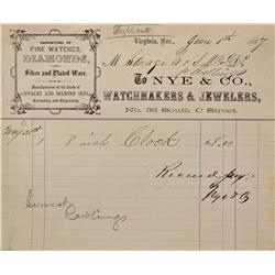 NV - Virginia City,Storey County - 1867 - Nye & Co. Billhead