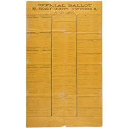 NV - Virginia City,Storey County - Official Election Ballot 1892 Presidential Election - Clint Maish