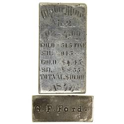 NV - Virginia City,Storey County - 1868 & 1876 - Ophir and Savage Silver Ingots and George F. Ford