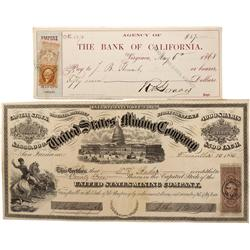 NV - Virginia City,Storey County - 1866, 1868 - Printed Cancellations on Revenue Stamps - Clint Mais