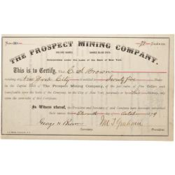 NV - Virginia City,Storey County - 1879 - Prospect Mining Company Stock Certificate - Fenske Collect
