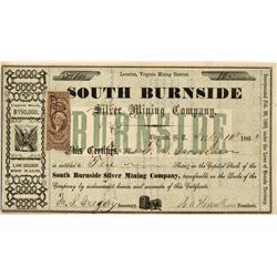 NV - Virginia City,Storey County - July 10, 1863 - South Burnside Silver Mining Company Stock Certif