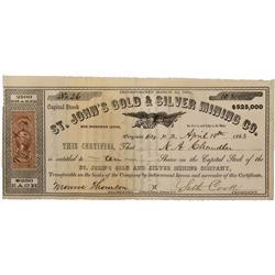 NV - Virginia City,Storey County - 1863 - St. John's Gold & Silver Mining Company Stock Certificate