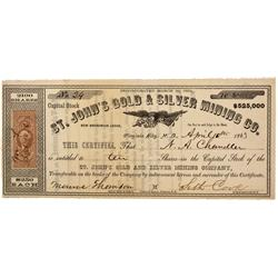 NV - Virginia City,Storey County - 1863 - St. John's Gold and Silver Mining Co. Stock Certificate *T