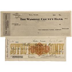 NV - Virginia City,Storey County - 1874 - Sutro Related Checks - Gil Schmidtmann Collection