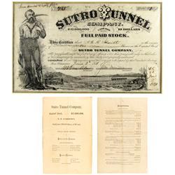 NV - Virginia City,Storey County - 1871 - Sutro Tunnel Company Stock Certificate