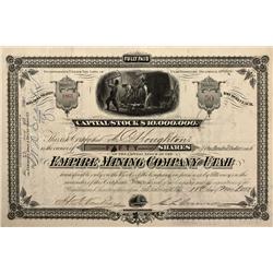 UT - 1881 - Empire Mining Company of Utah Stock Certificate - Fenske Collection