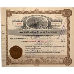 UT - 1916 - Rico-Wellington Mining Company Stocks Certificate - Fenske Collection