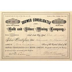 UT - 1899 - Shower Consolidated Gold and Silver Mining Company Stock Certificate - Fenske Collection