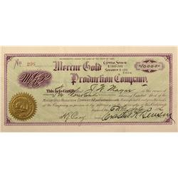 UT - Mercur,Tooele County - 1892 - Mercur Gold Production Company Stock Certificate - Fenske Collect
