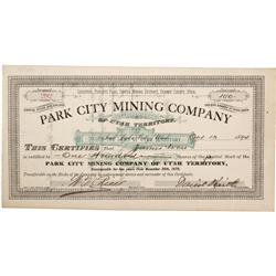 UT - Parleys Park,Summit County - Oct. 13, 1894 - Park City Mining Company Stock Certificate