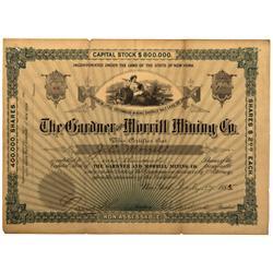 UT - Salt Lake City,1885 - Gardner and Morrill Mining Co. Stock Certificate - Fenske Collection