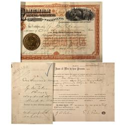 UT - Salt Lake City,1892 - Niagara Mining and Smelting Co. Stock Certificate - Fenske Collection