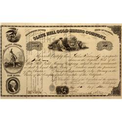 VA - Mineral,Louisa County - 1854 - Slate Hill Gold Mining Company Stock Certificate - Fenske Collec