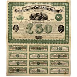 VA - Norfolk,1867 - Great Republic Gold & Silver Mining Co. Bond - Fenske Collection