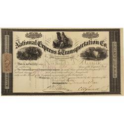 VA - Richmond,Dec 21 1865 - National Express & Transportation Co. Stock Certificate