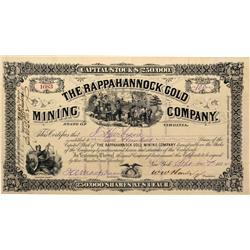 VA - Stafford County,1882 - Rappahannock Gold Mining Company Stock Certificate - Fenske Collection