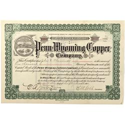 WY - Encampment,Carbon County - 1904 - Penn-Wyoming Copper Company Stock Certificate