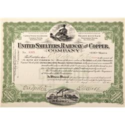 WY - Encampment,Carbon County - 1909 - United Smelters, Railway and Copper Company Stock Certificate