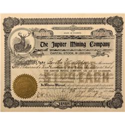 WY - Holmes,Albany County - 1906 - Jupiter Mining Company Stock Certificate - Fenske Collection