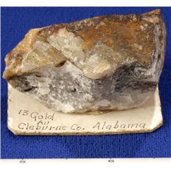 AL - Cleburne County - Gold in Quartz Specimen - Alabama