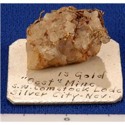 NV - Silver City,Storey County - Gold, Rare Specimen - Silver City, Nevada