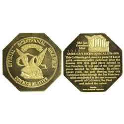 CA - 1976 - California Official Bicentennial Gold Piece Commemorative $50 Slug Facsimile 18K