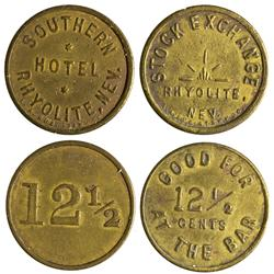 NV - Rhyolite,Nye County - Stock Exchange and Southern Hotel Tokens *Bullfrog* - Gil Schmidtmann Col