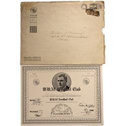 July 17 1933 - Godfrey, Arthur, WMAL Breakfast Club Certificate