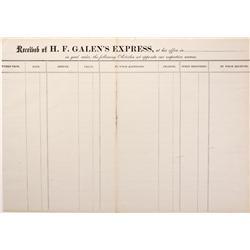 c1871 - H. F. Galen's Express Way-Bill - Mueller Collection