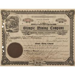 AK - Weedsky,1907 - Olympic Mining Company Stock Certificate - Fenske Collection