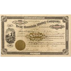 AR - Hot Springs District,April 7 ,1887 - Bear Mountain Mining Company Stock Certificate