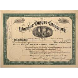 AZ - August 10, 1916 - Warrior Copper Company Stock Certificate