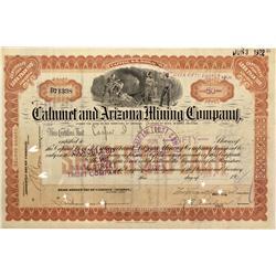 AZ - Bisbee,Cochise County - 1917 - Calument and Arizona Mining Company Stock Certificate - Fenske C