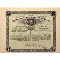 AZ - Clifton,Graham County - 1907 - New England and Clifton Copper Company of Arizona Stock - Fenske