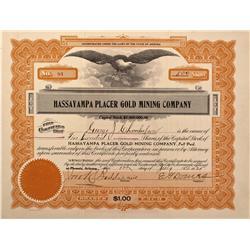AZ - Hot Springs,Mariposa County - 1925 - Hassayampa Placer Gold Mining Company Stock Certificate -