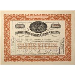 AZ - Humboldt,Yavapai County - 1919 - Arizona Binghampton Copper Company Stock Certificate - Fenske