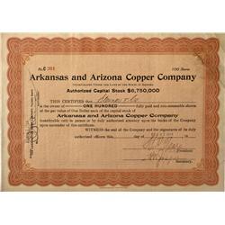 AZ - Jerome,Yavapai County - 1916 - Arkansas and Arizona Copper Company Stock Certificate - Fenske C